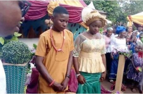 17-year-old boy drops out of school to marry 16-year-old girl of his dream in Anambra state