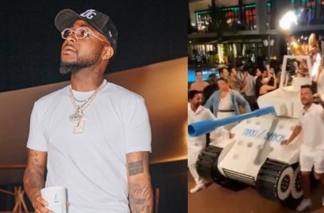 Dubai hotel uses 'armored tank' to deliver expensive drink to Davido (Video)