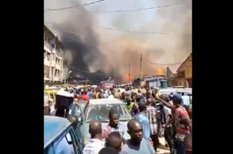 Breaking: Another building on fire in Lagos (Video)