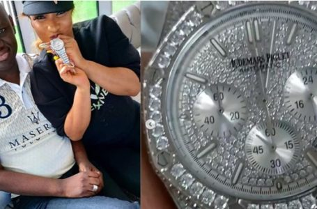 Tonto Dikeh gets diamond crested 'Audemars Piguet' watch from Timi Frank (Video)