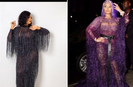 Who rocked the dress better between Tacha and Nicki Minaj? (Photos)