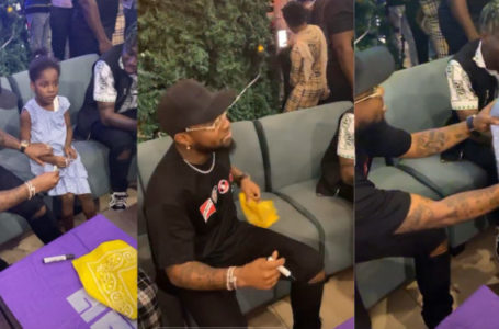 See the beautiful gift this little girl gave Davido in Abuja (Video)