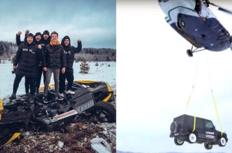 Russian blogger destroys his ₦120M MercedesAMG G63 SUV by dropping it from the helicopter