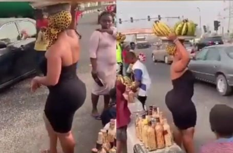 Well loaded lady spotted hawking plantain at Lekki – (Photos)