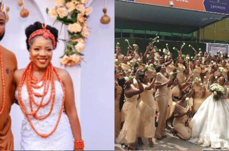 Sandra Ikeji with 200 bridesmaids on her wedding breaks Guinness book of records