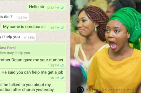 I love your big b*ttock – Church Minister compliments church girl begging him for a job (Leaked WhatsApp chat)