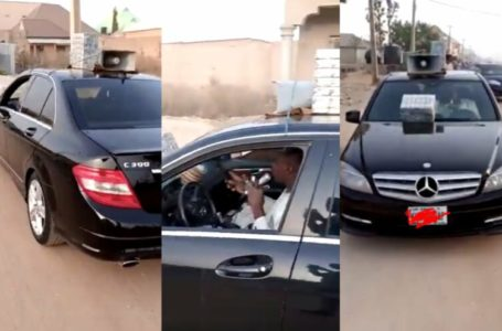 Nigerian man selling 'hausa' herbs in Mercedes Benz C-class (Video)