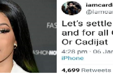 Cardi B asks Nigerians to choose between Chioma B or Cardijat to be her 'Nigerian name'.