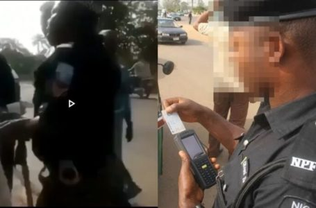 Trending Policeman with POS demanding for a young man's ATM card on a busy road