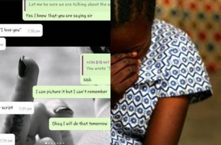 Leaked chat of Secondary school teacher demanding for sex from female SS3 student