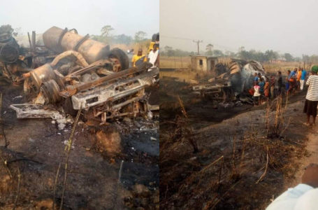 A tanker carrying petrol explodes with the driver trapped inside in Ebonyi [PHOTOS]
