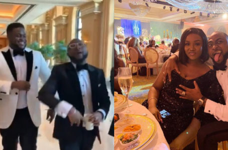 "Davido screams ""ALL MINES !! F#CK YALL !!"" – as he grabs Chioma's b00bs at his brother's wedding"