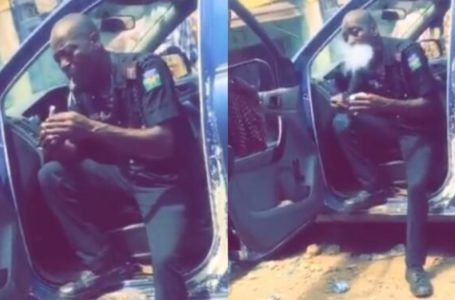 See Police Officer spotted smoking Indian Hemp vehemently while on duty (Video)