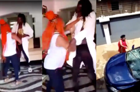 Watch the moment Nigerian lady and her friends beat up her boyfriend and broke his windscreen because he cheated (Video)