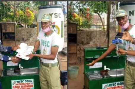 COVID-19: NYSC member constructs an automated hand-washing machine