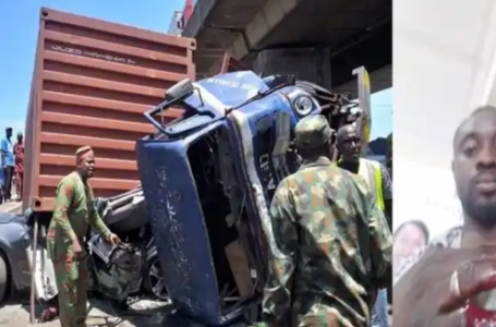 How Man escapes death on his second wedding anniversary as trailer fell on his car (Photos)