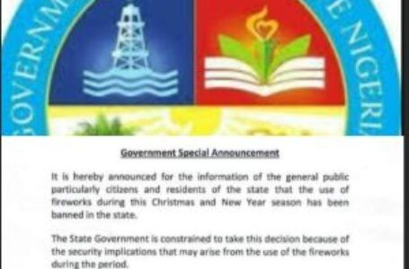 Delta State Govt Ban Use Of Fireworks During Xmas Season.